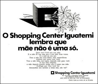Shopping Iguatemi,  Moda anos 70; propaganda anos 70; história da década de 70; reclames anos 70; brazil in the 70s; Oswaldo Hernandez