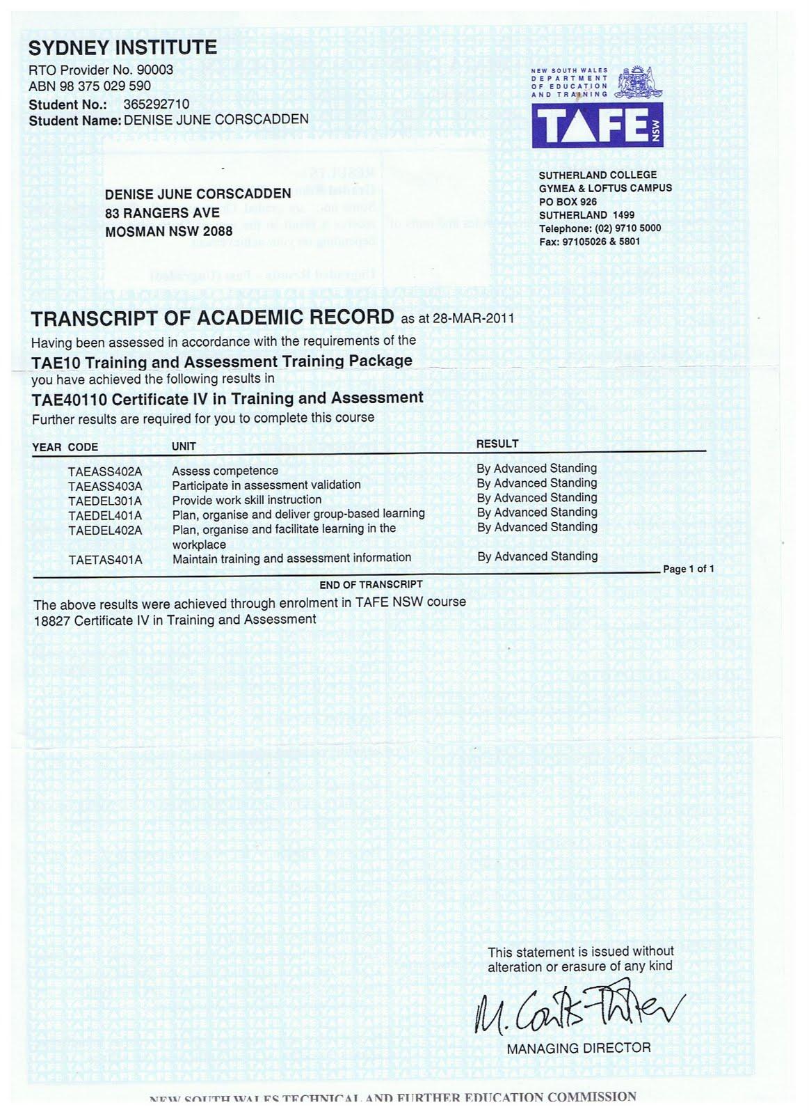 Denise S Cv Taa Amp Tae Certificate Iv