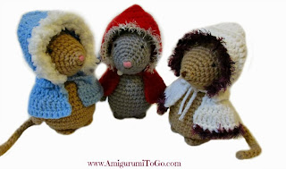 crochet mice with jackets on