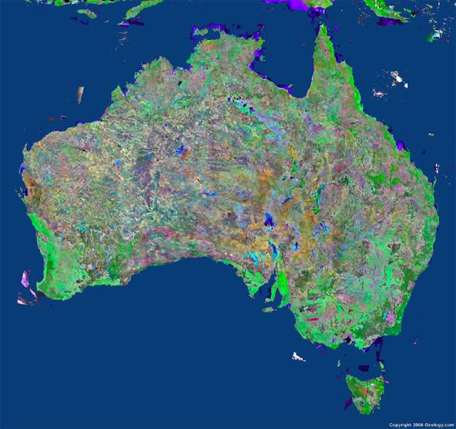 Gambar Peta Australia tampak dari satelit