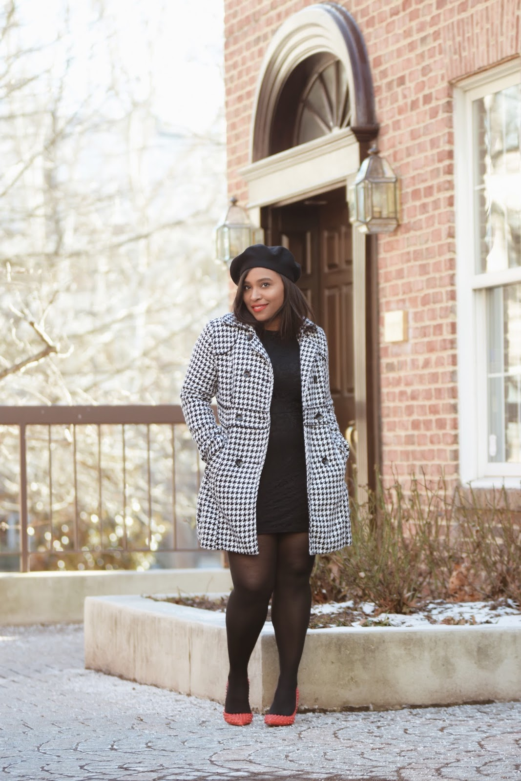 Shop Tobi, black lace dress, winter looks, valentines day looks, houndstooth coat, red pumps