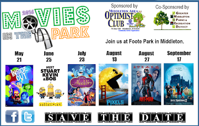 free movies in the park middleton area optimist club