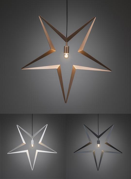 Stilren stjärna i koppar, vitt och grått, från Konstsmide | www.var-dags-rum.se