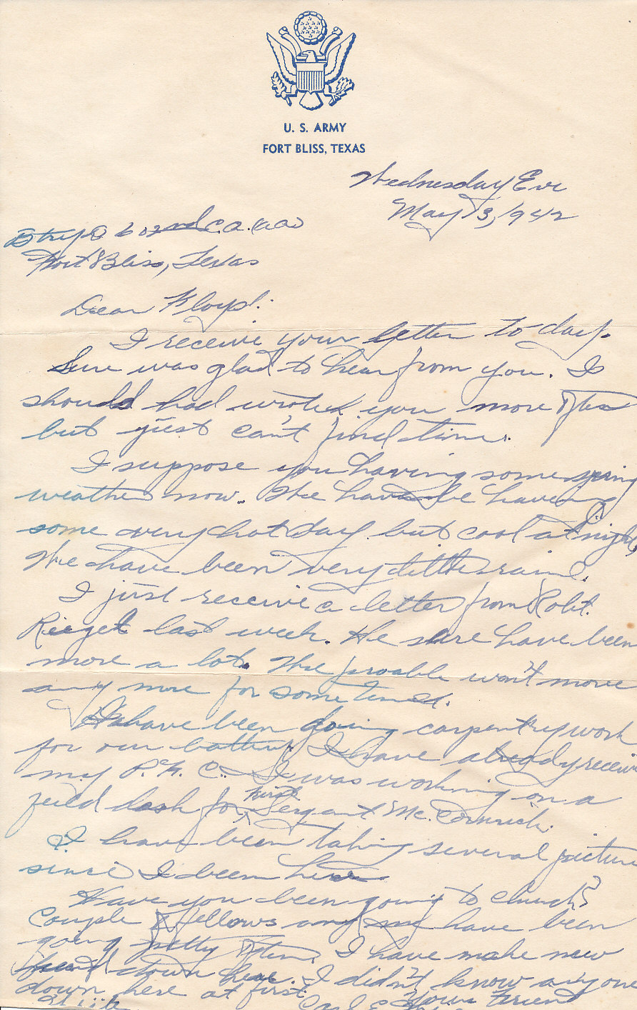 wwii letters  wwii letter fort bliss  texas  may 13  1942