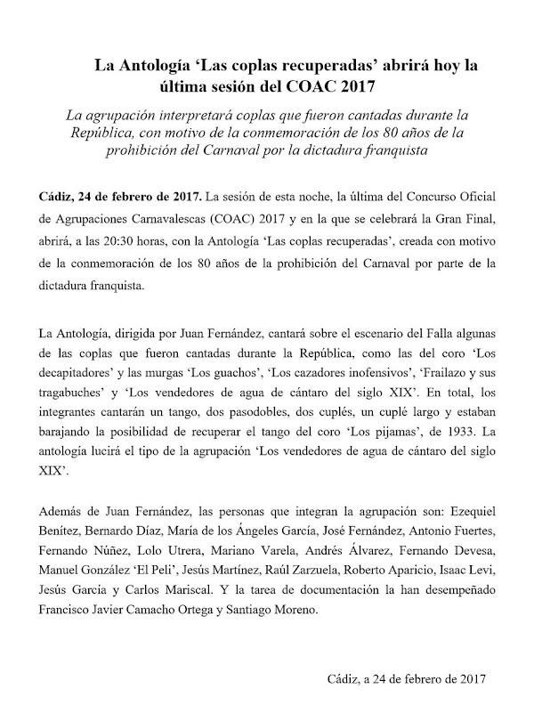 La Antología 'Las coplas recuperadas' en #COAC2017FINAL