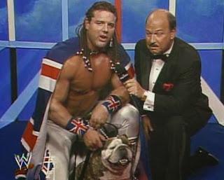 WWF / WWE - Wrestlemania 7: The British Bulldog, his dog, Wiinston and Mean Gene Okerlund