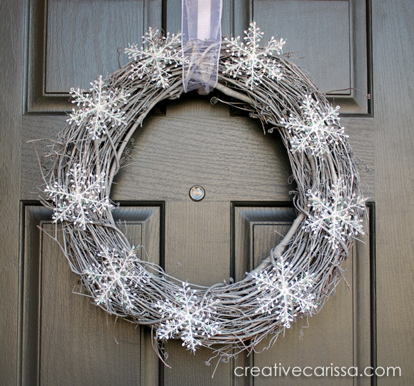 Silver and white snowflake winter wreath