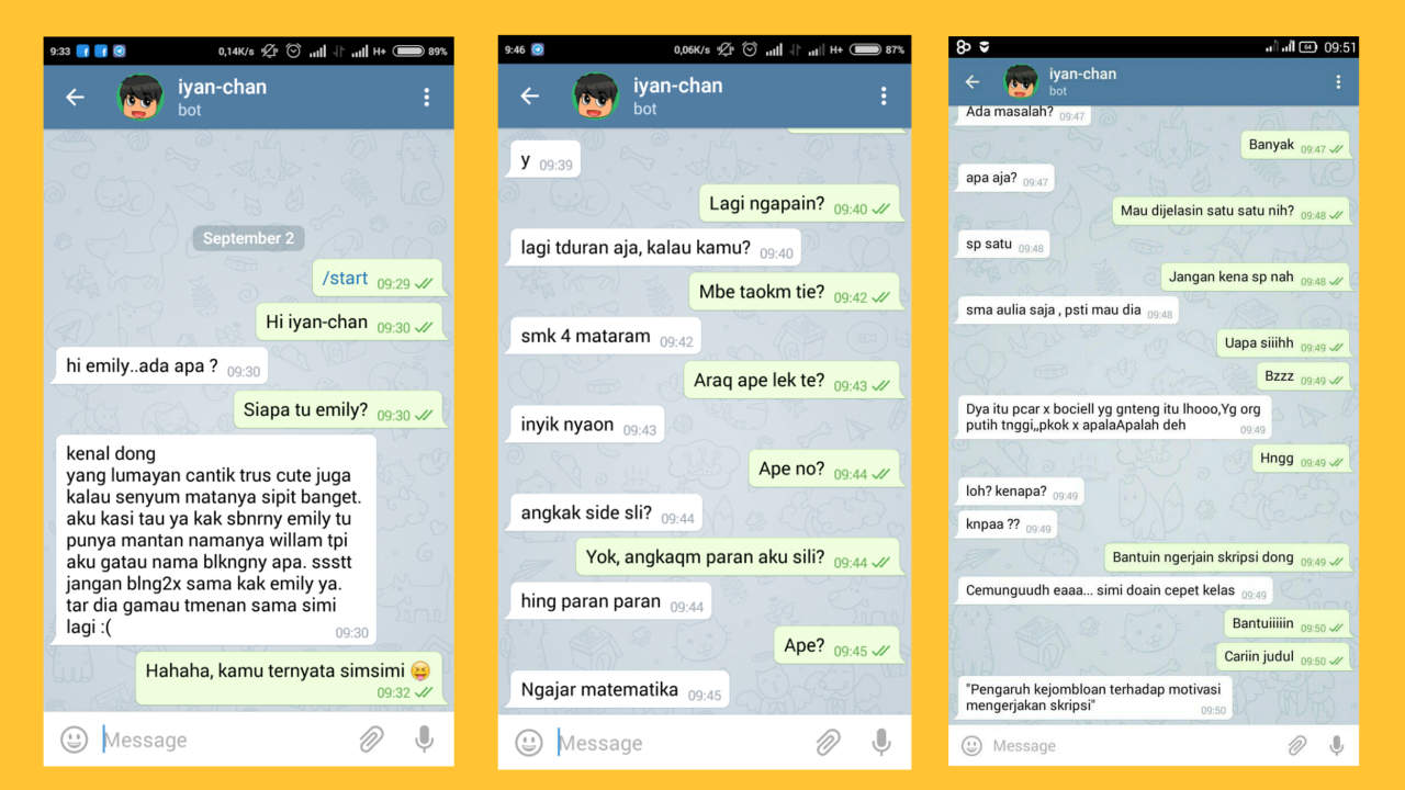 Demo of Telegram Bot Experiment with Simsimi API