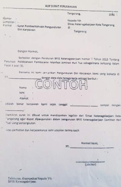 contoh surat pengunduran diri pdf