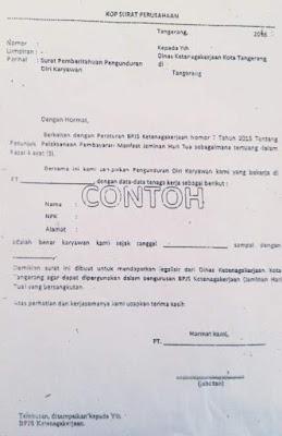 contoh surat pengunduran diri / resign kerja