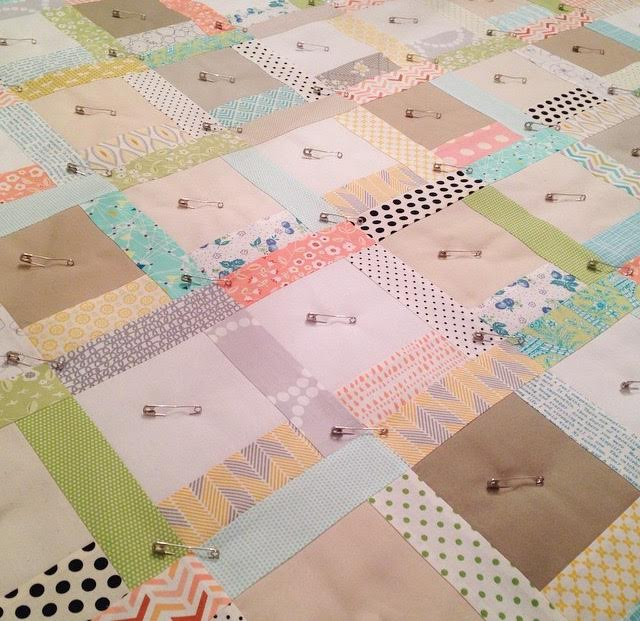 Scrappy quilt in progress