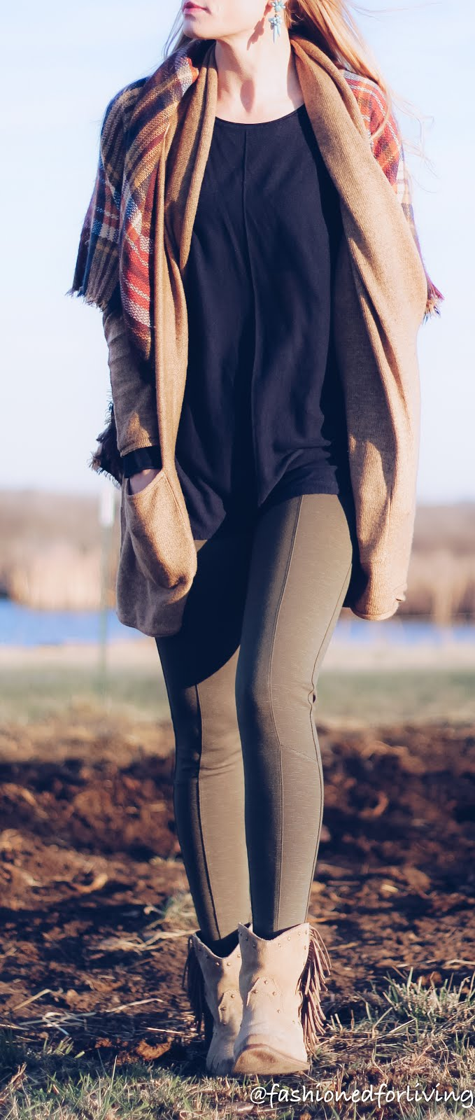 olive leggings with fringe cowgirl boots, long brown cardi, and blanket scarf