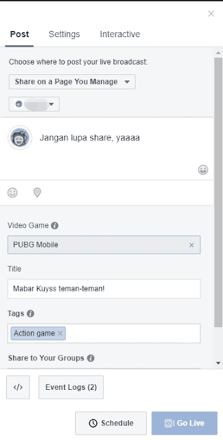 Mengisi Informasi Live Streaming FB Gaming