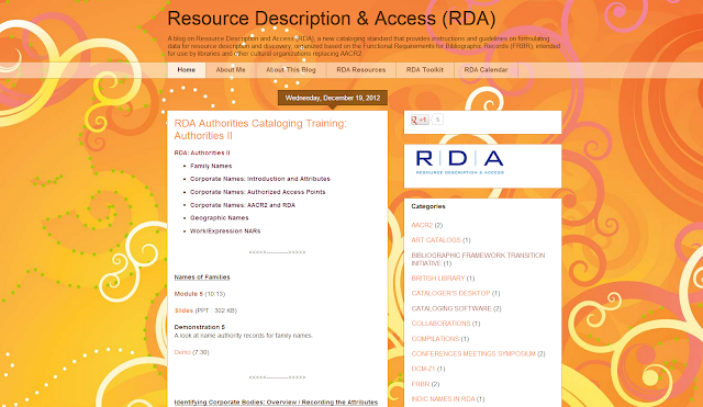 Blog Resource Description & Access (RDA)