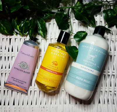Crabtree & Evelyn Evelyn Rose Hand Therapy, Citron & Coriander Body Wash and Goatsmilk & Oat Bath Milk