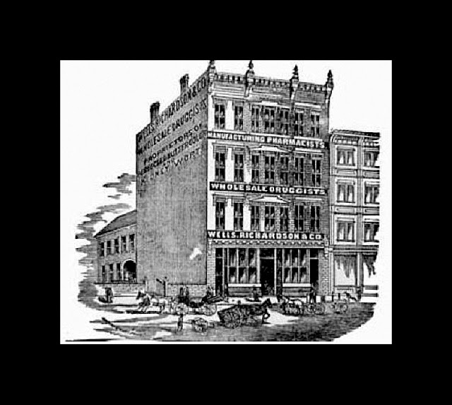 black & white sketch of Wells, Richardson Building with horse-drawn vehicles in foreground