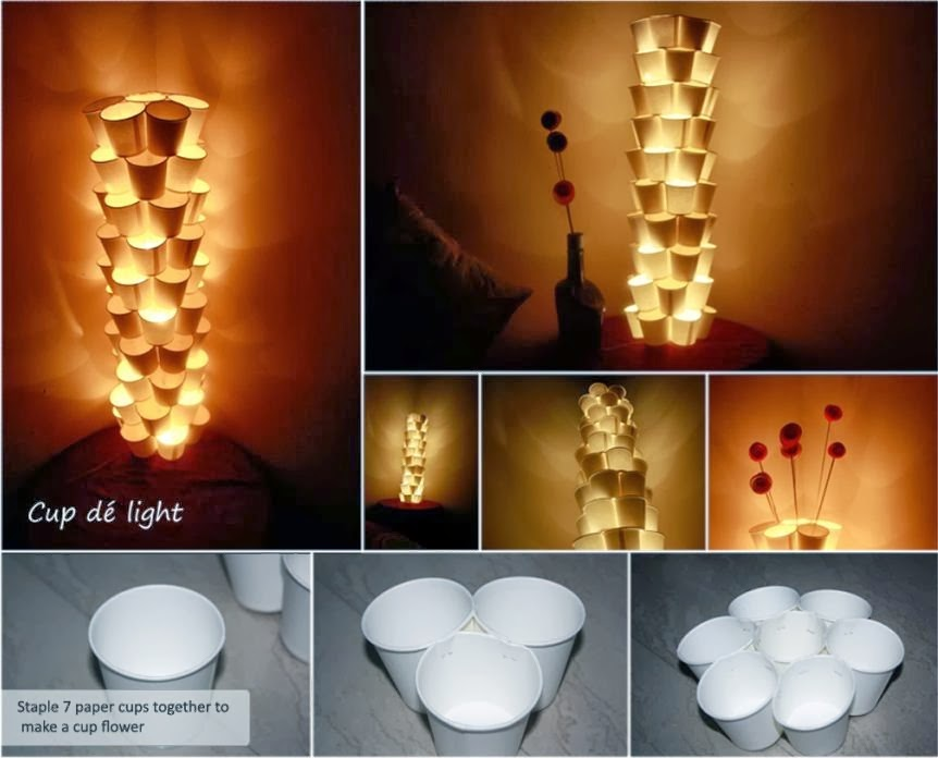 Awesome Diy And Craft: 12.Recycle Paper Cups Tower Lamps ...