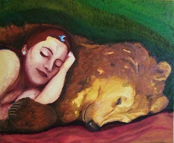 Deusa Artio dormingo com um Urso por Alexandra Nereïev | Wicca, Magia, Bruxaria, Paganismo