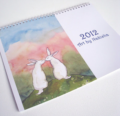 Art by Nakisha calendar, with bunny drawings