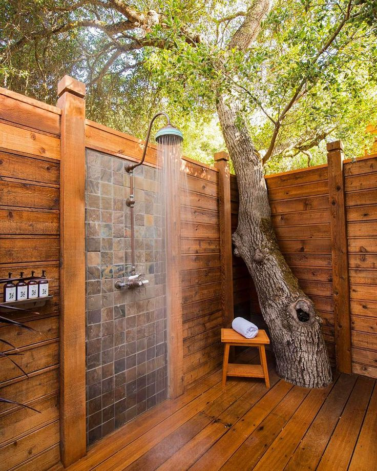 trees-and-tiled-wooden-outside-shower