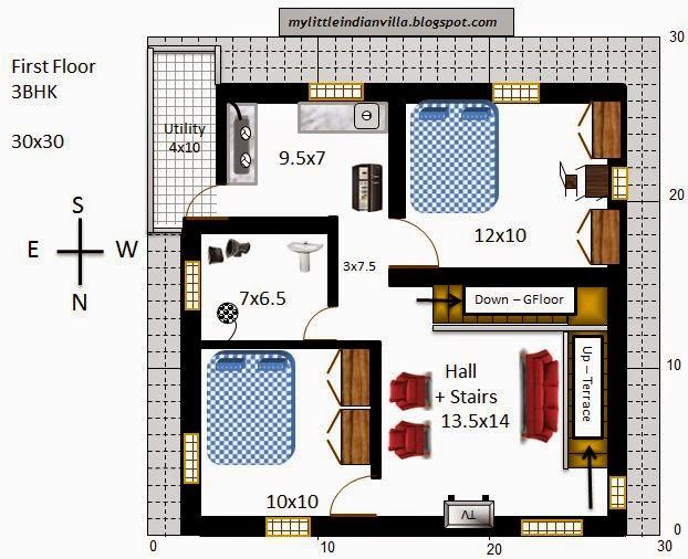 My Little Indian Villa: #33#R26 3BHK Duplex in 30x30 ...