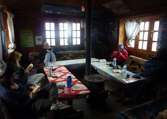 You can enjoy great time in tea house at Everest base camp with friends.