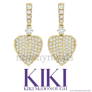 Kate Middleton jeweler KIKI McDONOUGH Lauren Yellow Gold Pave Diamond Earrings