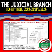 Judicial Branch Outline Notes, Civics Test Prep, Civics Test Review,Civics Study Guide, Civics Summer School Outline, Civics Unit Reviews, Civics Interactive Notebook Inserts