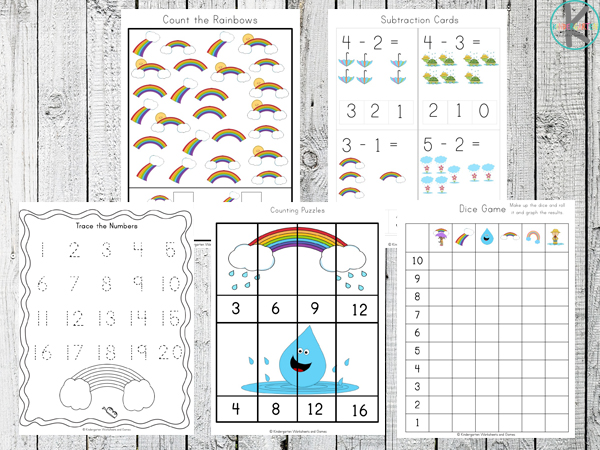 math Rainbow Worksheets for Kids