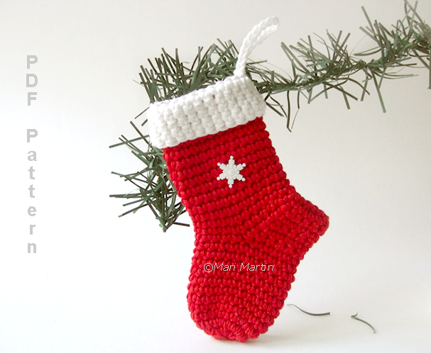 Crochet Christmas Stocking Ornament Pattern ~ Crochet Colorful