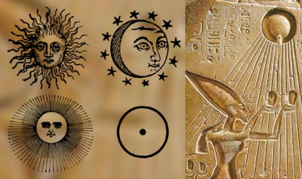 símbolos solares y adoración del faraón egipcio del sol