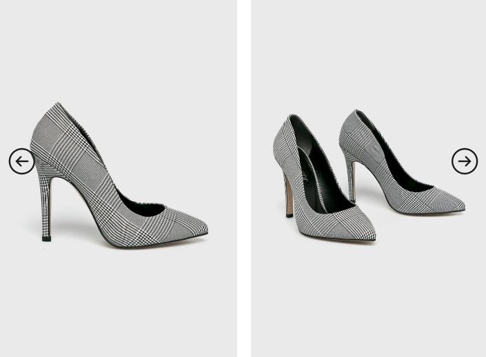 Answear - Pantofi cu toc gri eleganti de birou si de ocazii in carouri