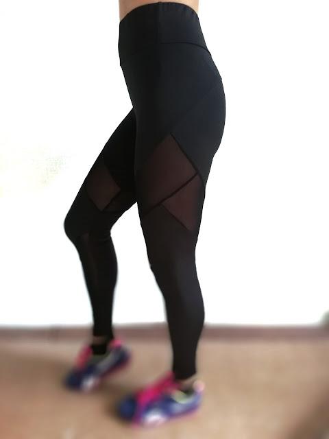 Спортивная одежда из магазина rosegal.com    Лосины с высокой посадкой High Waist Sheer Mesh Panel Workout Leggings