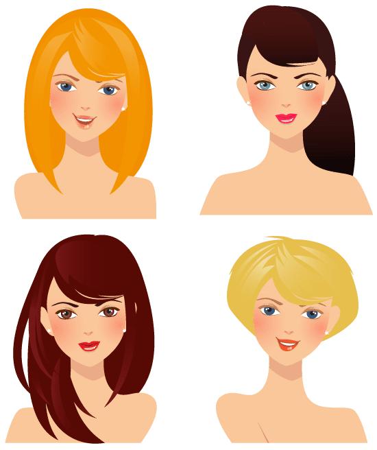 4 Rostros de mujeres - vector