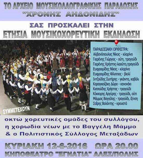 """Μουσικοχορευτική εκδήλωση από το Αρχείο Μουσικολαογραφικής Παράδοσης """"Χρόνης Αηδονίδης"""""""