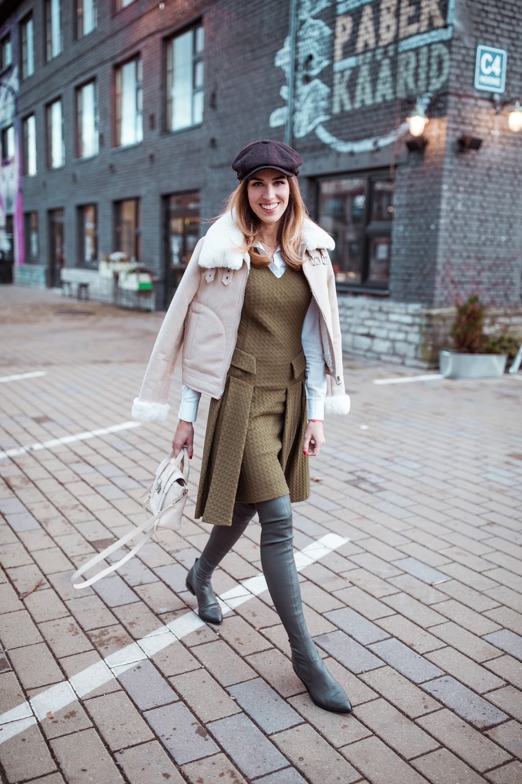 green dress over knee boots fall street style