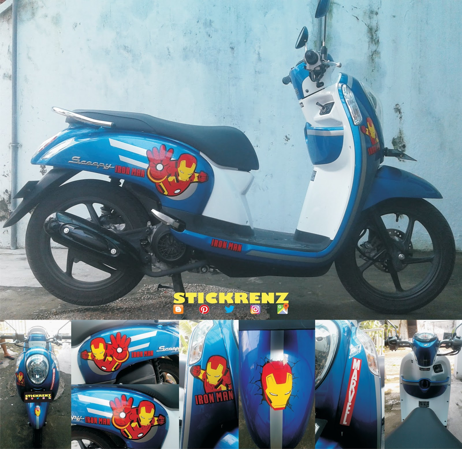 Honda Scoopy ESP Blue Custom Iron Man Sticker