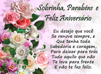 Mensagem de aniversário para sobrinha querida com rosas