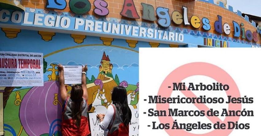 DRELM, UGEL 04 y municipio de Ancón clausuran cuatro colegios ilegales - www.drelm.gob.pe