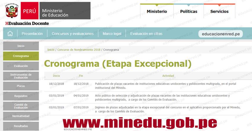 MINEDU: Cronograma Nombramiento Docente 2018 - Etapa Excepcional - www.minedu.gob.pe
