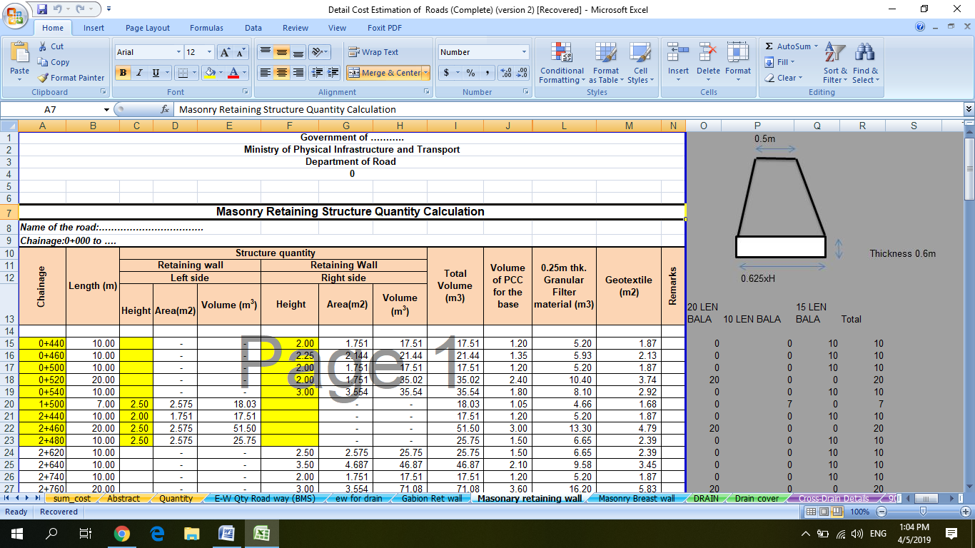 Detail Cost and Quantity Estimation of Road : Download