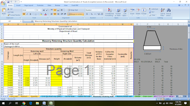 Detail Cost and Quantity Estimation of Road