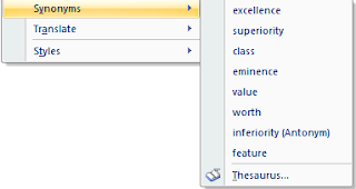 choose synonyms in ms office