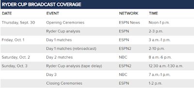 2018 Ryder Cup TV Schedule