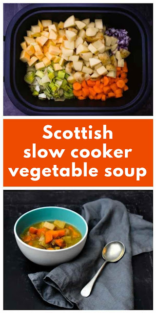 Scottish Slow Cooker Vegetable Soup A traditional Scottish winter root vegetable soup made in the slow cooker. Fat free, low calorie, satisfying and very tasty. A hug in a bowl. #slowcookervegetablesoup #slowcookersoup #crockpotsoup #crockpotvegetablesoup #fatfreesoup #lowcaloriesoup #52diet #scottishvegetablesoup #vegetablesoup