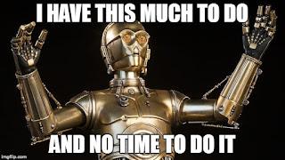 Star Wars C3PO is also running around like crazy.
