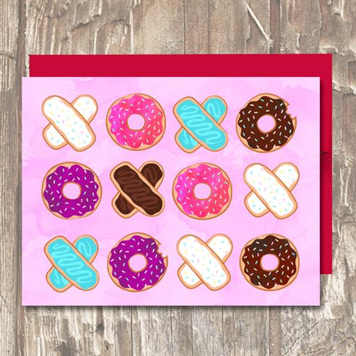 XOXO Pink Donuts Valentine's Day Love Card