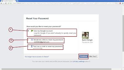 facebook passwod reset