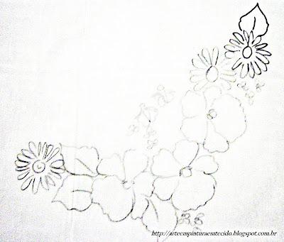 pintura em tecido flores risco amor perfeito