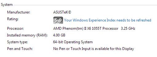 Windows 7 Computer properties showing system type as 64-bit operating system